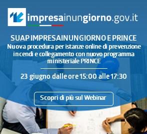 Webinar per Imprese e Professionisti ''SUAP Impresainungiorno e PRINCE''